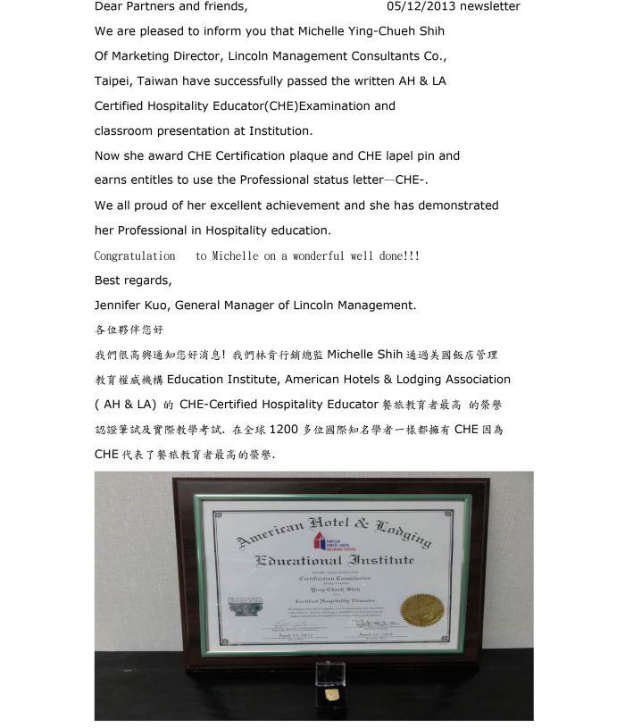 Congratulation to Michelle Shih award CHE Professional status