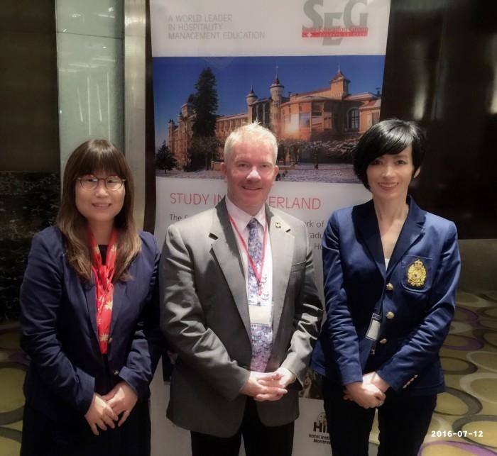 2016年4月瑞士 SEG教育集團執行長MrFlorent Rondez與台灣辦事處代表Jennifer Kuo 及 Michelle Shih 合影